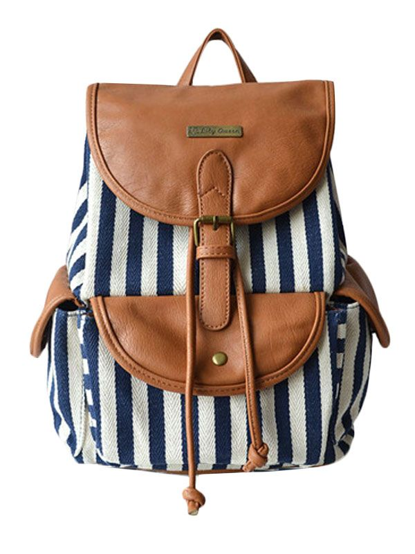 """""""This fun backpack is perfect for me in the summer as I cycle to work and carry my laptop and gym gear  nearly every day.  Love how the nautical stripes look fun yet grown up with the brown leather"""" - Hannah, LOVESPACE's Marketing Team."""