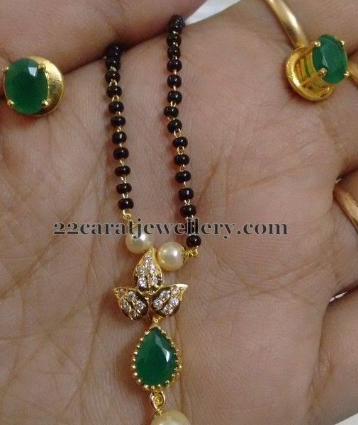 1500 Rupees 1 Gram Gold Black Beads Sets