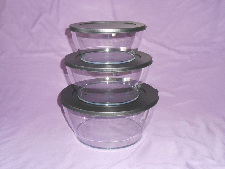 Tupperware set of 3 Clearly Elegant serving bowls acrylic clear black seals New #Tupperware