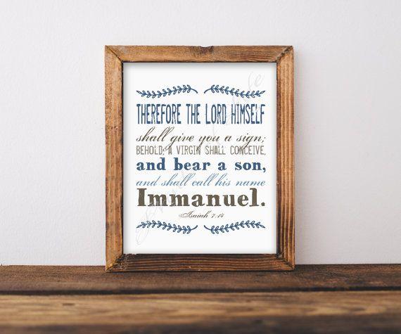 Christmas artwork. Immanuel. Isaiah 7:14. Bible by PrintsofLife