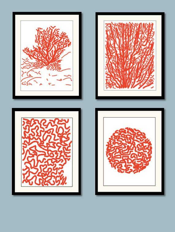 Red Coral Art Prints Blue Coral Art Coastal Wall by DIGIArtPrints, $40.00
