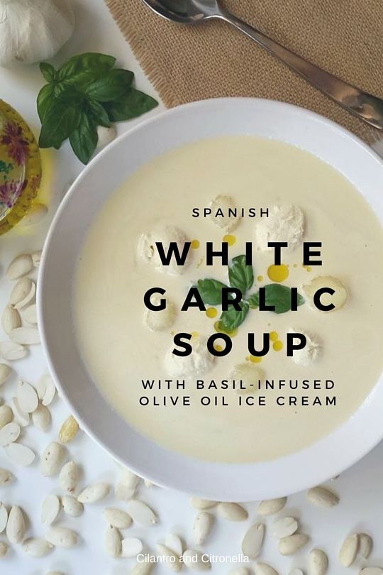 White garlic soup is a cold Spanish soup made from blended almonds and flavoured with a hint of garlic and sherry vinegar. It´s delicious accompanied by an easy vegan olive oil based ice cream infused with fresh basil.