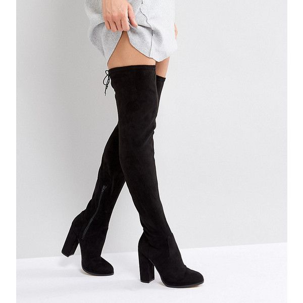 ASOS KINGSHIP TALL Heeled Over The Knee Boots ($38) ❤ liked on Polyvore featuring shoes, boots, black, black over-the-knee boots, black boots, thigh-high boots, black lace up boots and over-the-knee lace-up boots