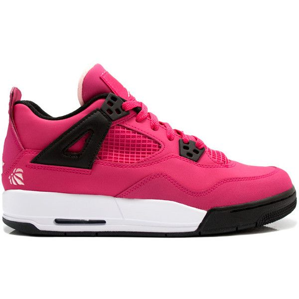 Air Jordan IV (4) Retro Voltage Cherry GS ❤ liked on Polyvore featuring shoes, sneakers, jordans, tennis shoes and shoes.