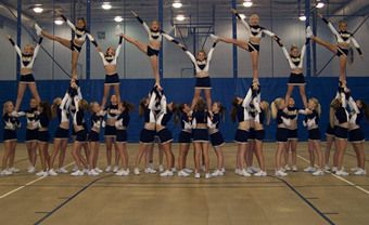 Jupiter Force All Stars cheerleaders doing a Pyramiders