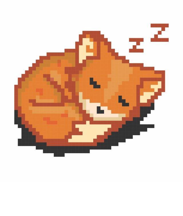 Sleeping Fox Pixel Art Aesthetic Art Art
