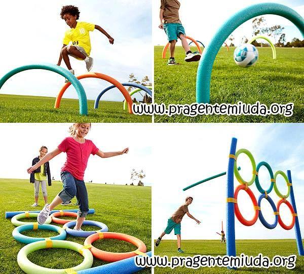 ATIVIDADE CORPORAL NA ESCOLA!!! Aprenda a fazer todo o material usando macarrão de piscina e fita adesiva colorida!!!