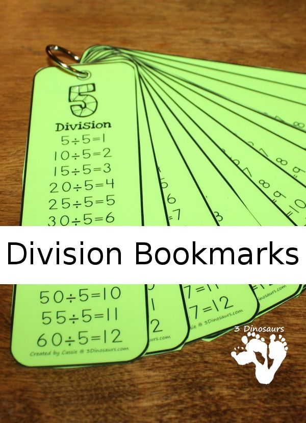 Here are FREE Division Bookmarks from 3 Dinosaurs. In this pack you will find:  	Numbers 1 to 12 	4 bookmarks per page 	3 pages total 	Black