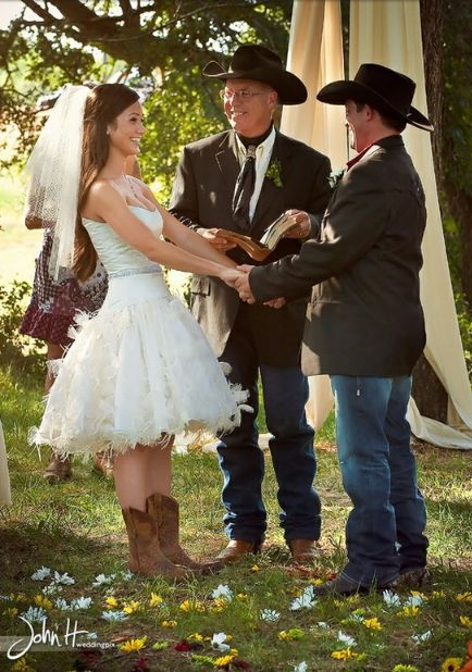 A very bold wedding love the short dress and cowboy boots for Short wedding dress with cowboy boots