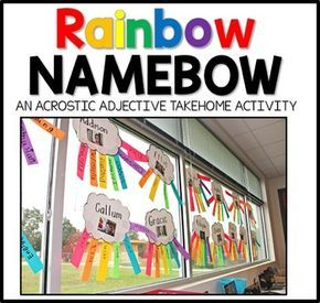 This Rainbow Name Poem Project was born out of the need for a classroom bursting with cheery color for open house. Since the first time I tried this project, I have loved doing it year after year. It is wonderful to see which words the parents choose for their children.   This packet includes a send home letter to parents and a template for writing an adjective for each letter of the student's name.