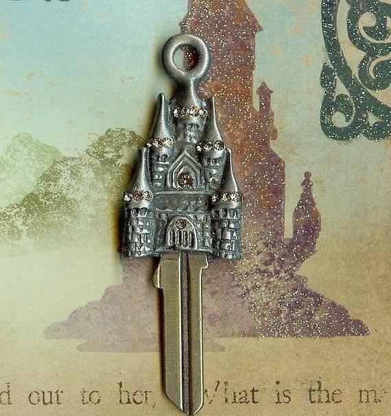 Castle Key Fairytale Castle House Key Blank With Swarovski Crystals In 2020 Key Blanks House Keys Castle House