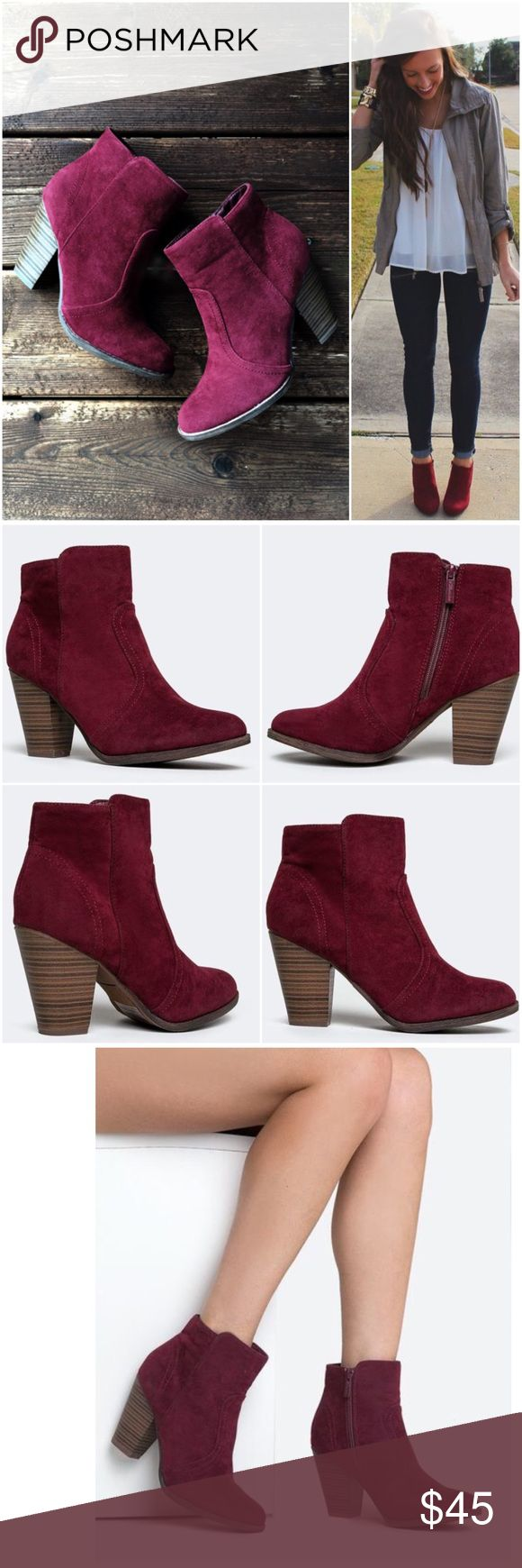 "⭐️LAST SIZES!⭐️NIB Wine/Burgundy Ankle Booties NIB Wine/Burgundy Ankle Booties. Pair these beautiful booties with skinnies or a dress -- such a beautiful color for fall and winter! Features a wooden heel, decorative stitching, and inner ankle zipper closure. Non-skid sole, cushioned footbed. Heel is approx 3.5"", shaft is 7.5"" height, opening circumference approx 10.5"". Fits true to size, vegan suede. No Trades and No Paypal Price is firm, but can discount in a bundle. WILL NOT BE RESTOCKED…"