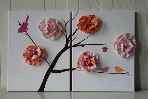 This LOVELY and ADORABLE 3D art will look gorgeous in any girl's room. This canvas set is hand painted for the special little one in your life! It