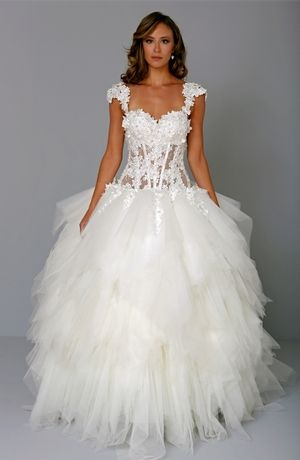 Pnina tornai princess ball gown wedding dress with for Princess style wedding dresses sweetheart neckline