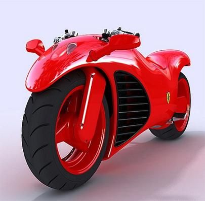 This is a very cool red motorbike and it looks very unique.