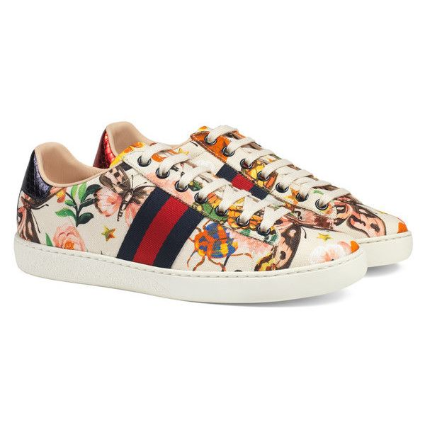 Gucci Garden Exclusive Ace Sneaker ($595) ❤ liked on Polyvore featuring shoes, sneakers, gucci, floral sneakers, gucci trainers, print shoes, snake print shoes and floral shoes