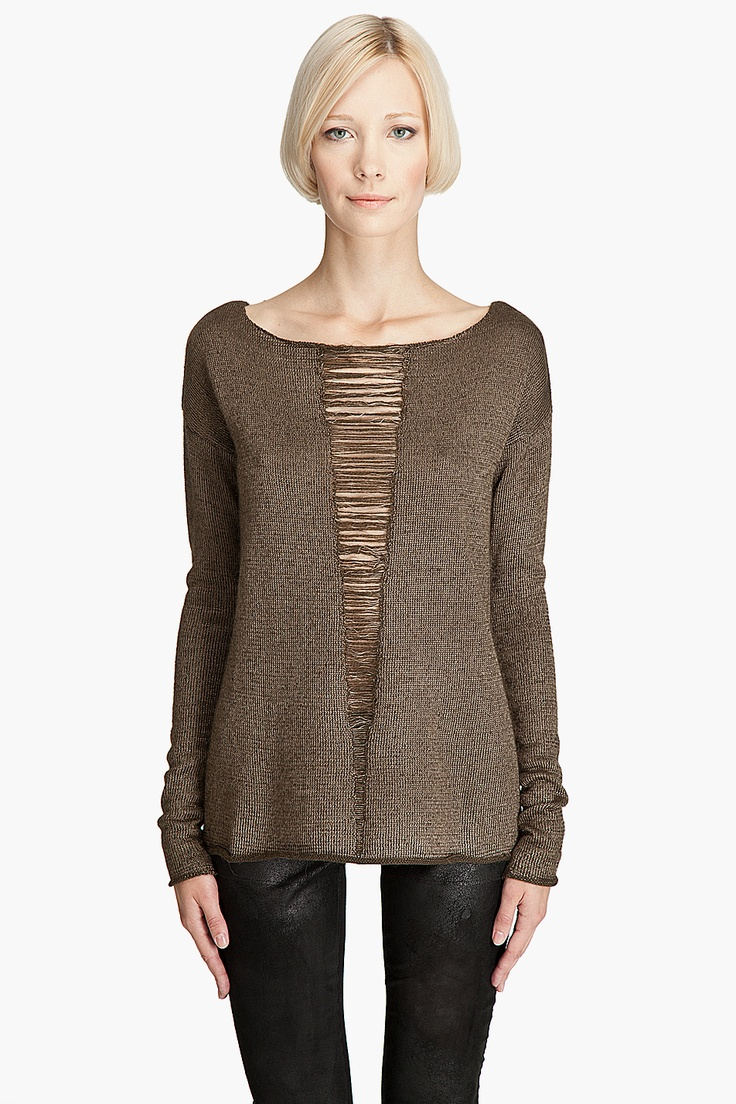 drop stitch, but maybe slit pullover with crochet lace insert