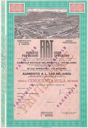 FIAT S.p.A. VZ-Aktie 50.000 x 500 Lire Mai 1969 (Muster, mit Faksimile-Unterschrift Giovanni Agnelli).