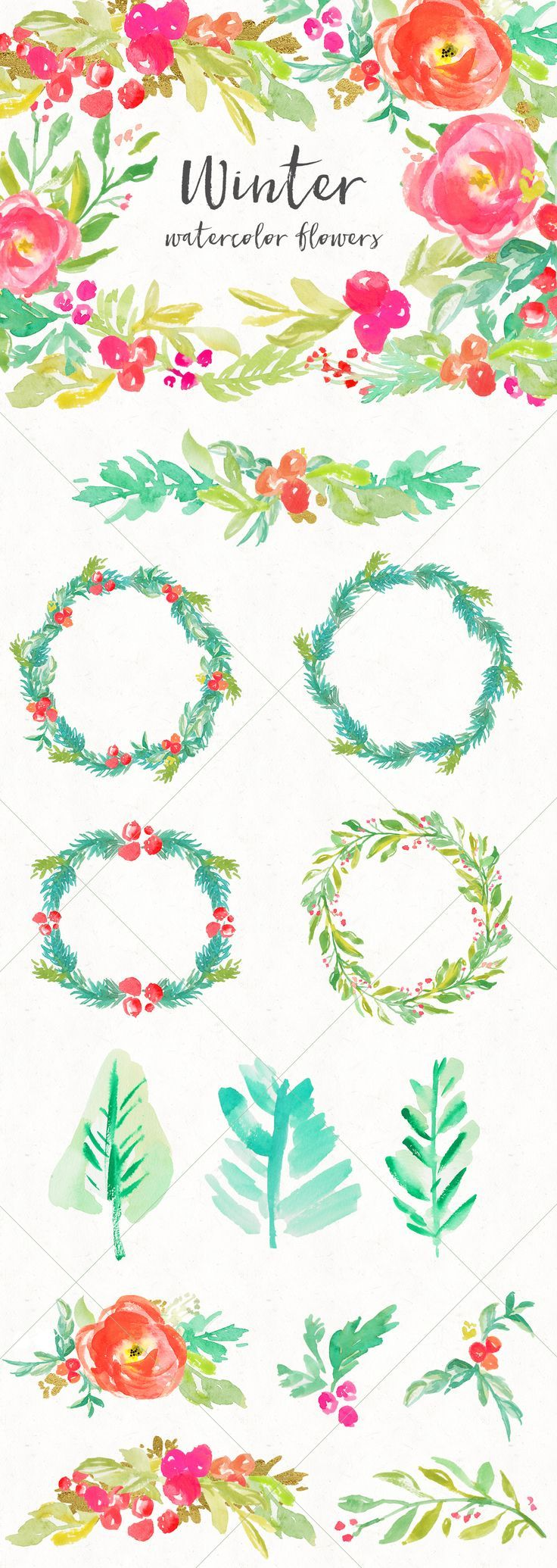 Watercolor Winter Flowers Clip Art Design Pack. Love these Hand Painted Floral Wreaths and Watercolor Clip Art Elements. Perfect For Christmas Cards, etc. | angiemakes.com