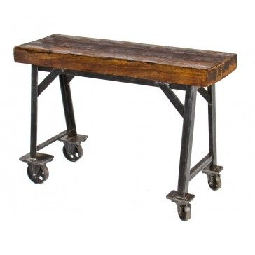 early 20th century industrial iron and steel factory table with wood slab top