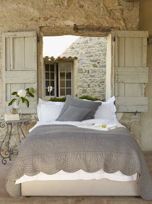I seriously need the tutorial for this headboard :): Rustic Bedrooms, Window, Bedrooms Design, Stones Wall, Cottage, French Country, Grey, Guest Rooms, Shutters
