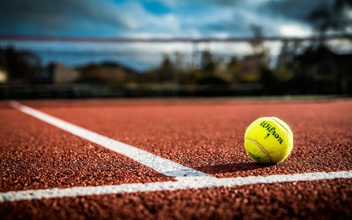 Download wallpapers tennis court, tennis, yellow tennis ball, court with a hard surface