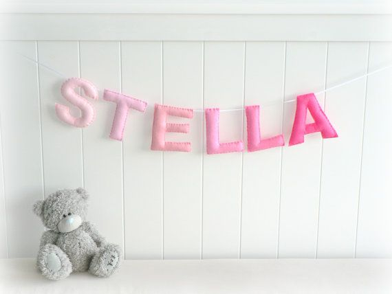 Personalized felt name banner - custom made wall art nursery decor - made to match bedroom colors - nursery decor - ombré via Etsy