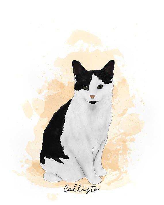 Custom Cat Drawing-Cat Wall Decor-Cartoon Cat
