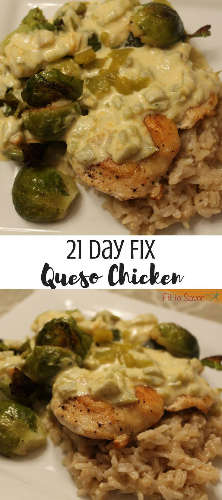 21 Day Fix friendly Chicken w/ Queso Sauce. The best use EVER for your blue container!