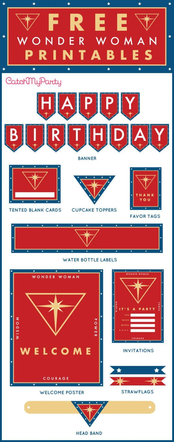 Free Wonder Woman birthday party Printables including invitation, Happy Birthday banner, cupcake toppers, water bottle labels, favor tags, and more! | Catc…