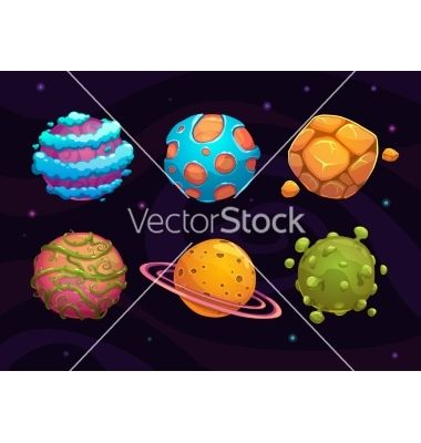 Set of cartoon fantasy planet vector by lilu330 - Image #5863595 - VectorStock