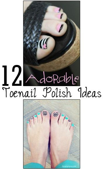 12 Adorable Toe Nail Polish trends and ideas- cute ways to mix up boring old toenail polish. Great DIY pedicure designs~