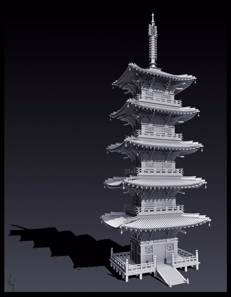 Japanese Tower ... Done in both ZBrush and 3DsMax