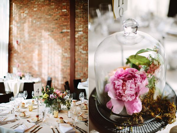 bell jar centerpieces - photo by Pat Furey http://ruffledblog.com/roundhouse-beacon-wedding