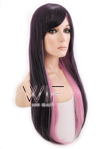 "28"" Straight Purple Mixed Pink Synthetic Wig PL291"