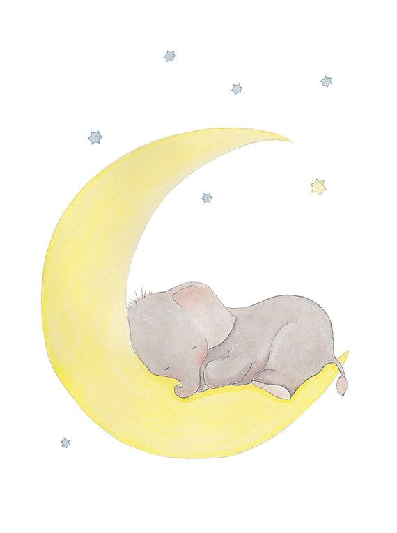 Title; Baby Elephant Moon and Stars Dream   This is a print from my original illustration .   The image is centered to fit with the paper size
