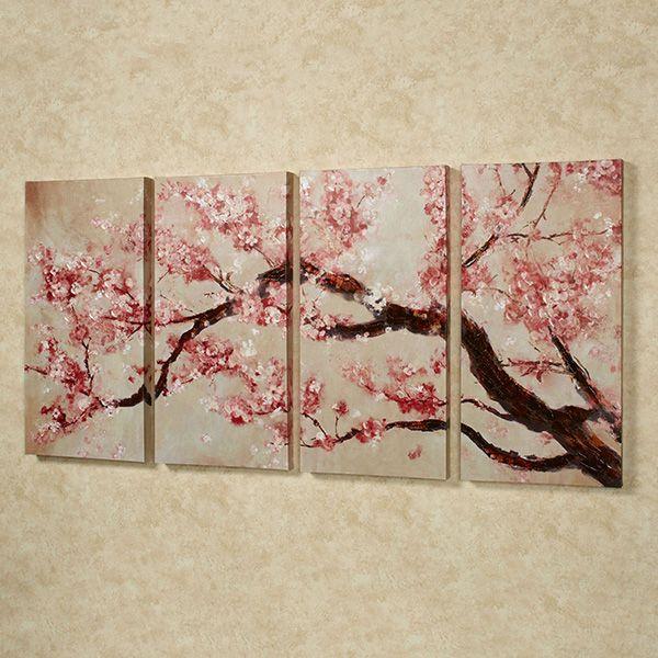 Cherry Blossom Tree Quadtych Canvas Art Set Cherry Blossom Art Cherry Blossom Painting Blossoms Art