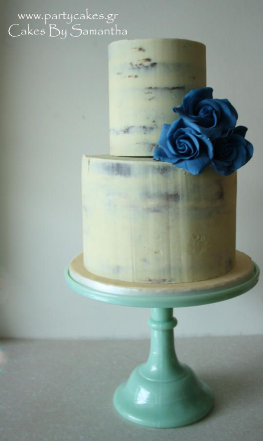 Simple semi-naked cake with blue roses - Cake by Samantha Potter