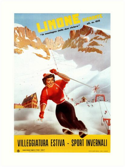 Ski Italy vintage Limone Piemonte Italian travel ad by aapshop