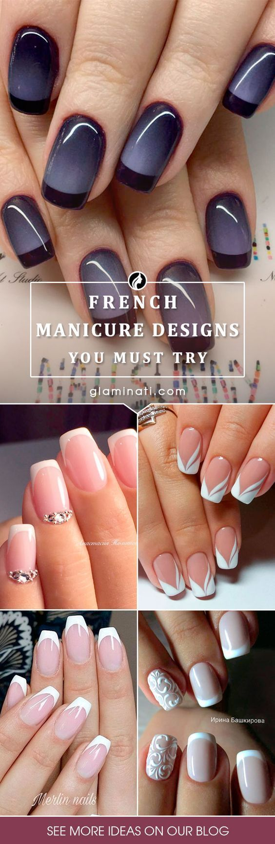 24 new french manicure designs to modernize the classic mani k nstliche n gel fingern gel und. Black Bedroom Furniture Sets. Home Design Ideas