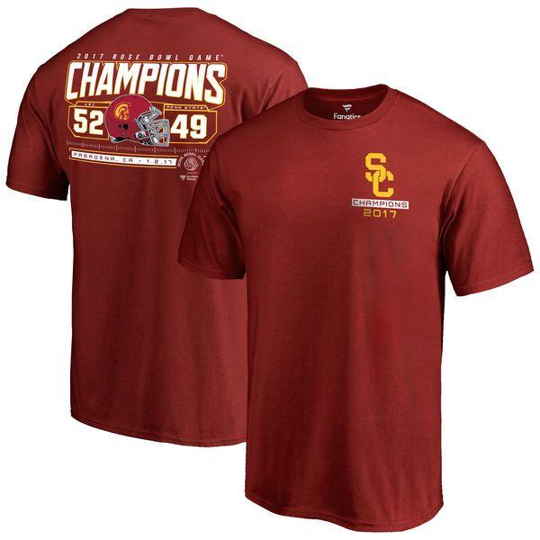 USC Trojans Fanatics Branded 2017 Rose Bowl Champions Score T-Shirt - Cardinal - $27.99