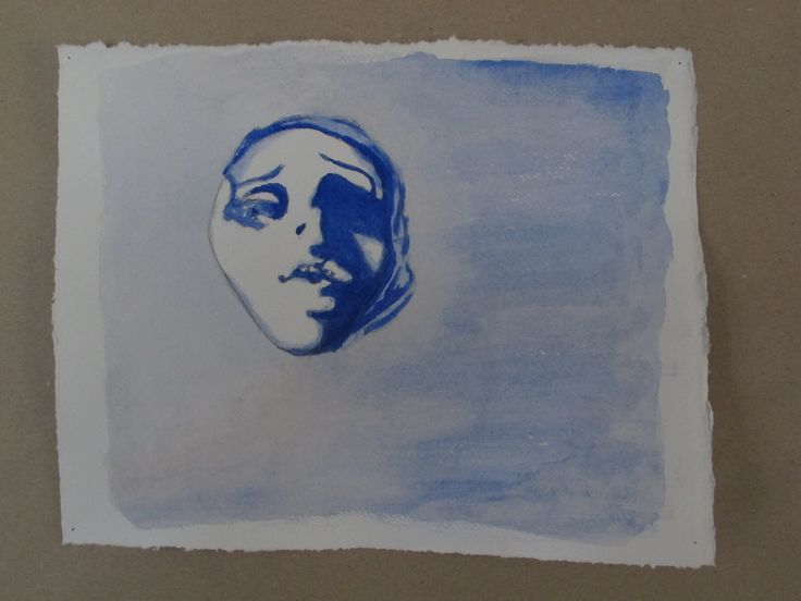 Face in blue. Student work at Odder Højskole 2013.  #højskole #artschool #kunstskole