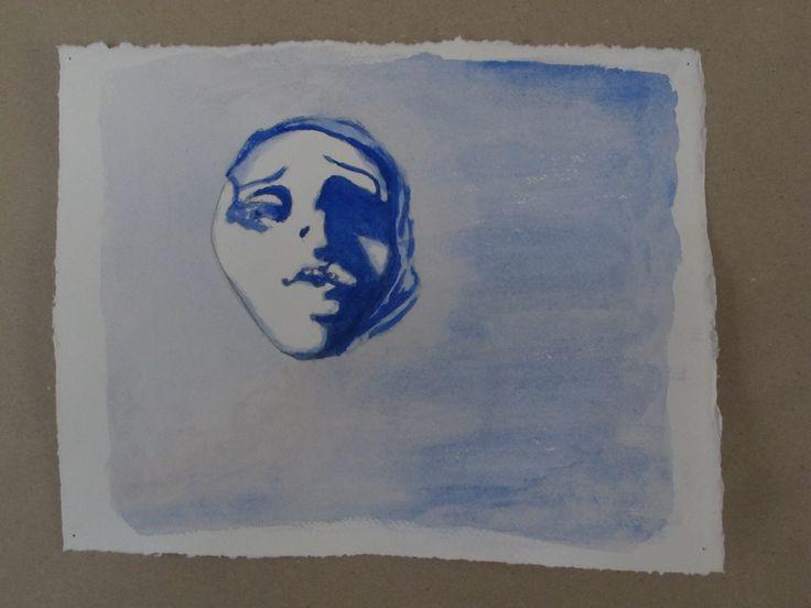 Face in blue. Student work at Odder Højskole 2013.  #højskole #artschool #kunstskole