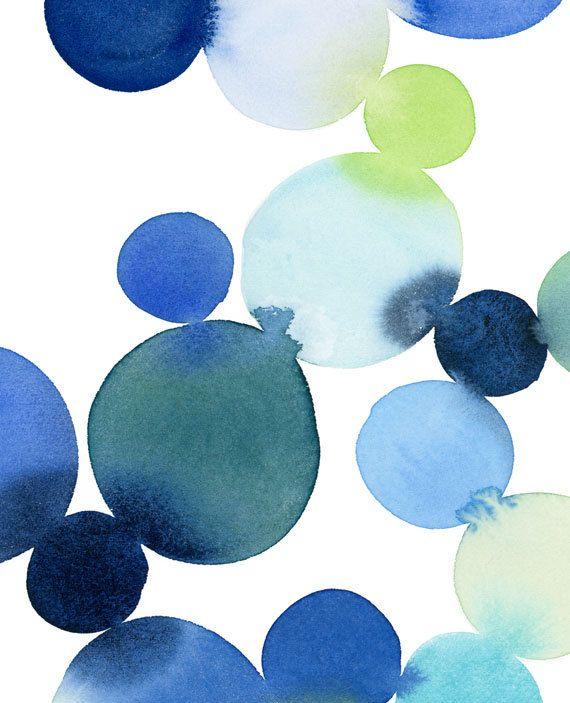 Handmade Watercolor- Dot Cluster in Blue- 8x10 Wall Art Watercolor Print