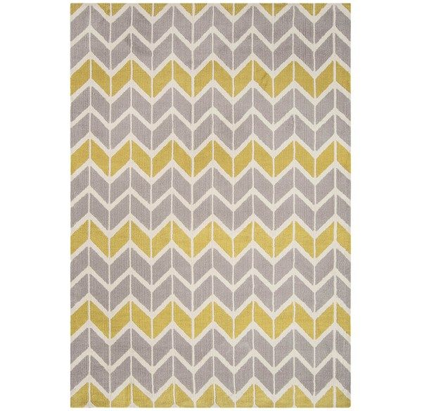 Arlo Chevron Rugs AR06 in Lemon and Grey - Free UK Delivery - The Rug Seller