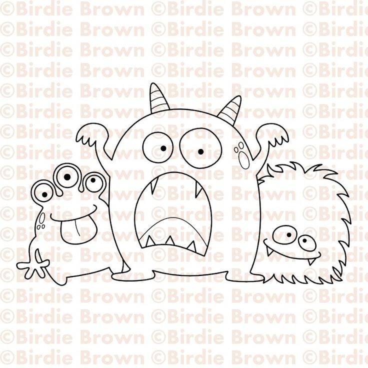 Digital stamp -- Three Monsters. $2.50, via Etsy.