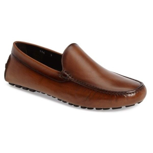 Men's To Boot New York Harry Driving Moccasin ($200) ❤ liked on Polyvore featuring men's fashion, men's shoes, men's loafers, tan leather, mens leather shoes, mens shoes, mens driving moccasins, mens tan shoes and mens tan leather shoes