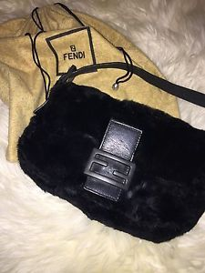 "Fendi Iconic ""Baguette"" Shoulder BAG Made OF Rabbit FUR Authentic 