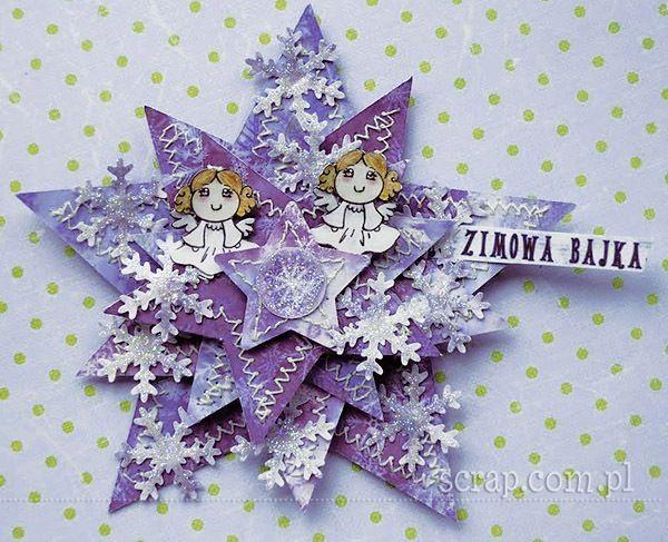 Magnes na lodówkę wykonany z papierów Zimowa Bajka