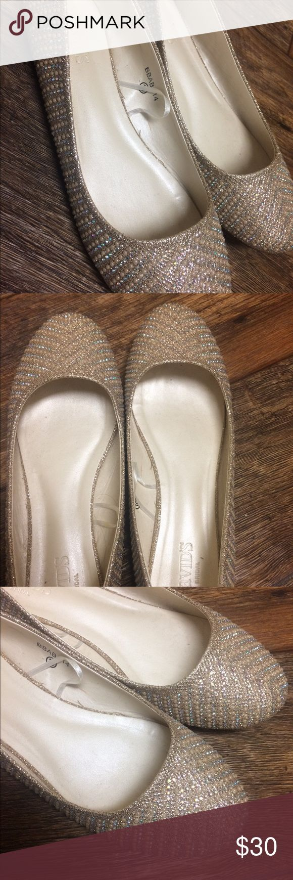 Davids Bridal Wedding Shoes Shoes only worn once, super comfy. Champagne Pearl color David's Bridal Shoes Flats & Loafers